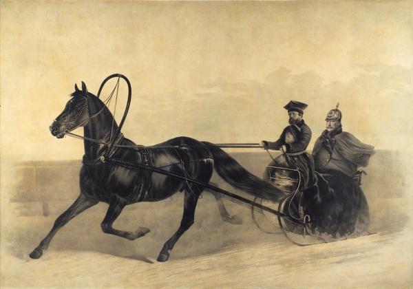 Сверчков Николай Егорович (1817–1898) «Император Николай Iна зимней прогулке». 1850-е. Бумага, литография, 60x88см (всвету).