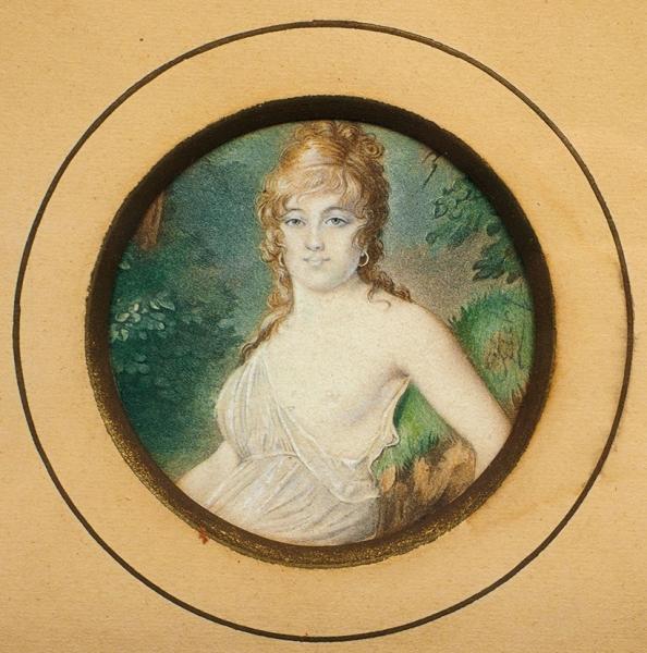 Зичи Михаил Александрович (1827–1906) «Женский портрет». Последняя четверть XIXвека. Бумага, литография, акварель, 6,5x6,5см (овал, всвету).