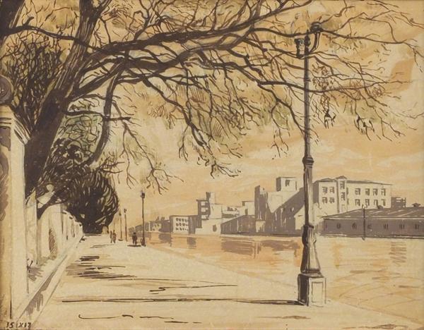 Лапшин Николай Федорович (1891–1942) «Вид нанабережную». 1917. Бумага, акварель, 17x22см (всвету).