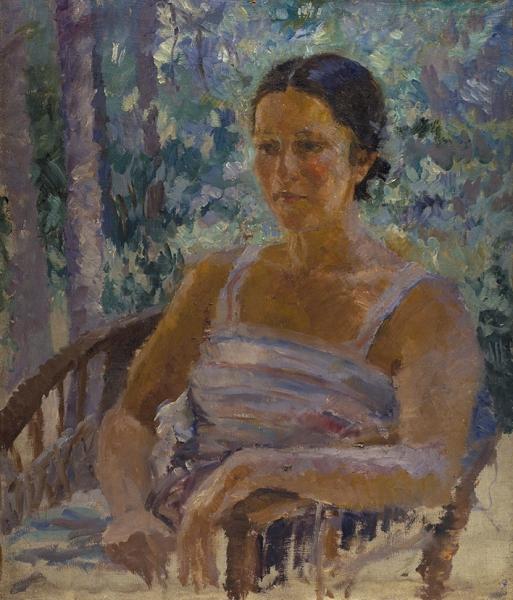 Шемякин Михаил Федорович (1875–1944) «Женский портрет». Первая четвертьХХ века. Холст, масло, 64x55см.
