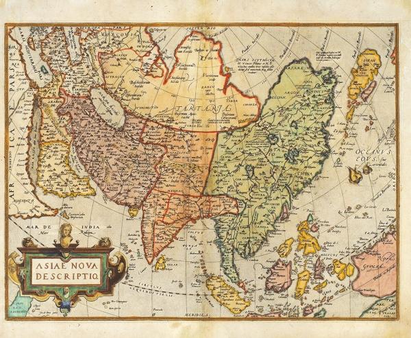 Карта Азии/ сост. Абрахам Ортелиус [Asiae Nova Descriptio. Налат.яз.]. [Б.м., 1575].