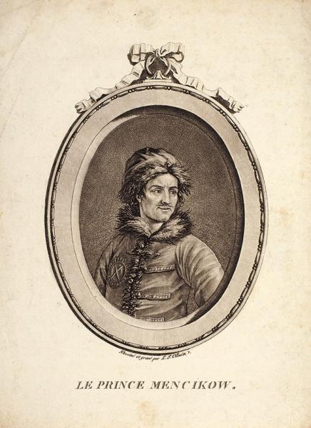 Французский гравер «Князь А.Д. Меньшиков». 1729. Бумага, меццо-тинто, 22x16,5см.