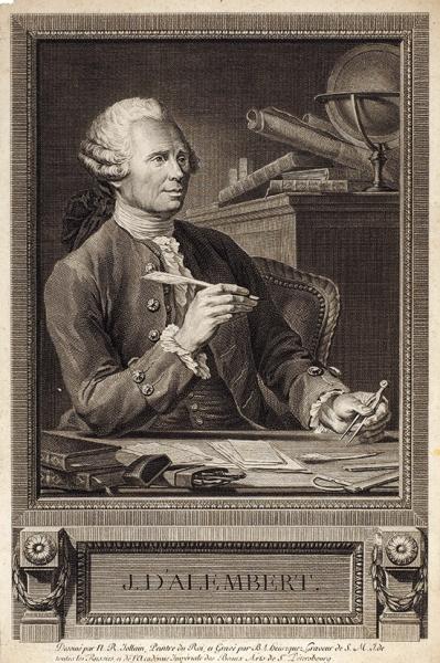 Анрикез Бенуа-Луи (Benoit-Louis Henriquez) (1732–1806) соригинала Жоллена Николя Рене (Nicolas Renе Jollain) (1732–1804) «Д'Аламбер». 1777. Бумага, резец, 33,4×22,3см (лист, обрезан).