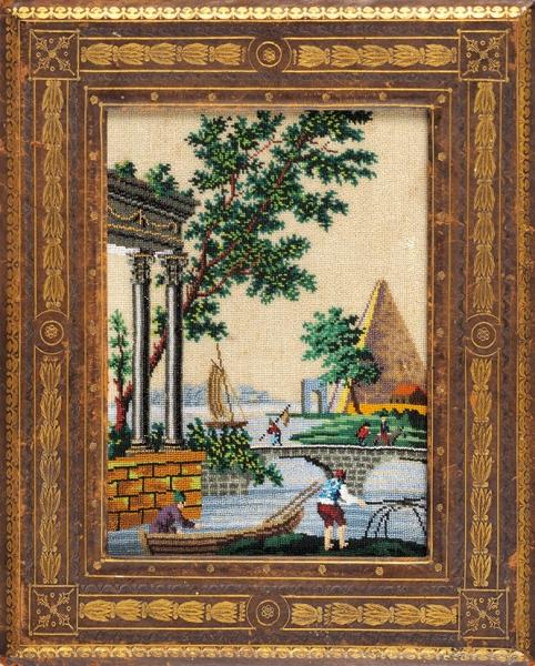 Вышивка бисером сизображением пейзажа вкожаной раме сзолотым тиснением. Россия. 1820-е— 1830-е. Вышивка бисером поканве; кожа, тиснение; стекло. Размер33,5x27см.