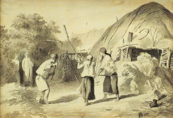 Клодт фон Юргенсбург Михаил Петрович (1835–1914) «Жанровая сцена». 1870. Бумага, графитный карандаш, акварель, 16,5x24,5см (всвету).