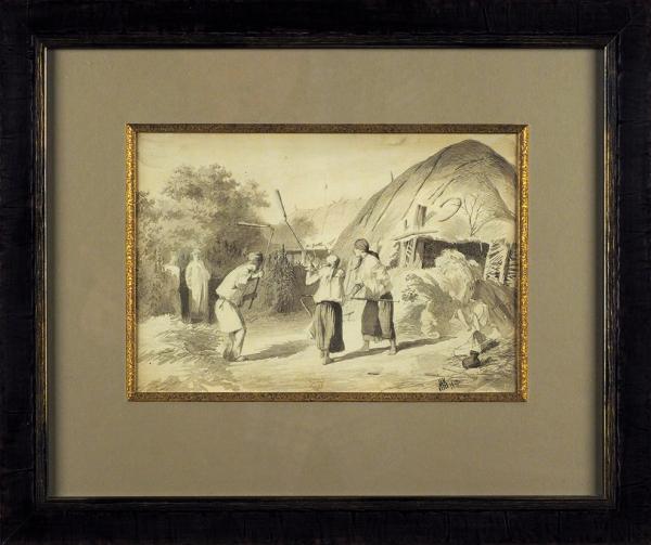 Клодт фон Юргенсбург Михаил Петрович (1835–1914) «Жанровая сцена». 1870. Бумага, графитный карандаш, акварель, 16,5×24,5см (всвету).