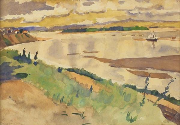 Суриков Василий Иванович (1848–1916) «Енисей». Конец XIXвека. Бумага, акварель, 20,5×30,5см (всвету).
