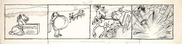 Яковлев Александр Евгеньевич (1887–1938) «Динамит». Эскиз иллюстрации для журнала «Сатирикон». 1910-е. Бумага, тушь, перо, 11x41см.