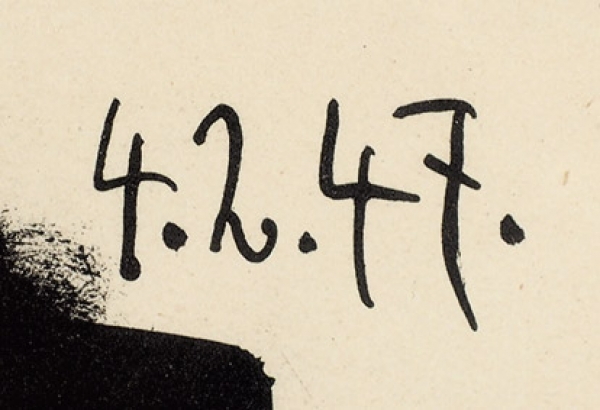 Пикассо Пабло (Pablo Picasso) (1881–1973) «Белый голубь начерном фоне». 1947. Бумага, автолитография, 32,5×49,5см.