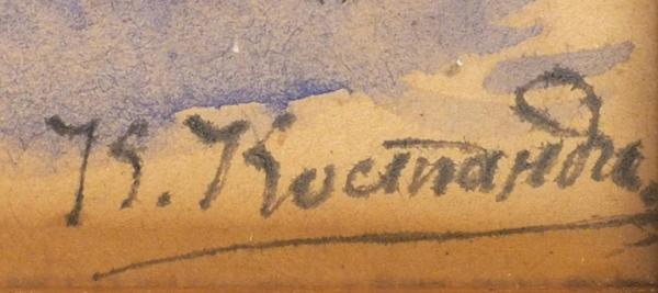 Костанди Кириак Константинович (1852-1921) Эскиз ккартине «Страстной четверг». 1910-е. Бумага, акварель, тушь, 17,5x13,5см.