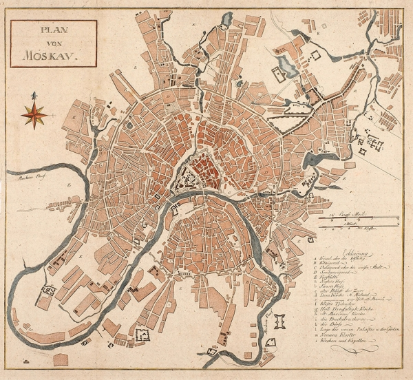 План Москвы. [Plan von Moscav. Нанем.яз.] Кон. XVIIIв.