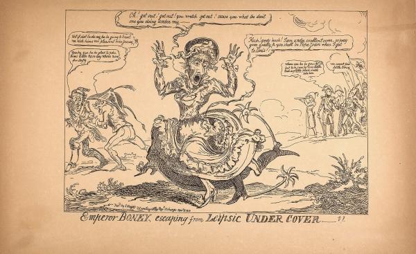 Неизвестный литограф «Emperor Boney, escaping from Leipsic Under Cover». 1813. Бумага, литография, 27,8x45см.