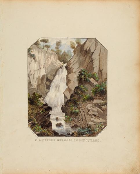 Тайх (Teich) Антон фон «Водопад вШотландии». 1855. Бумага, акварель, белила, лак, 25,5x21см.
