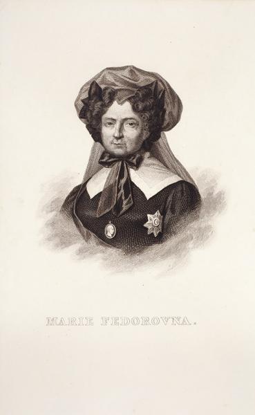 Неизвестный гравер «Мария Федоровна втраурном костюме». Последняя треть XIXвека. Бумага, резец, 22x14см.