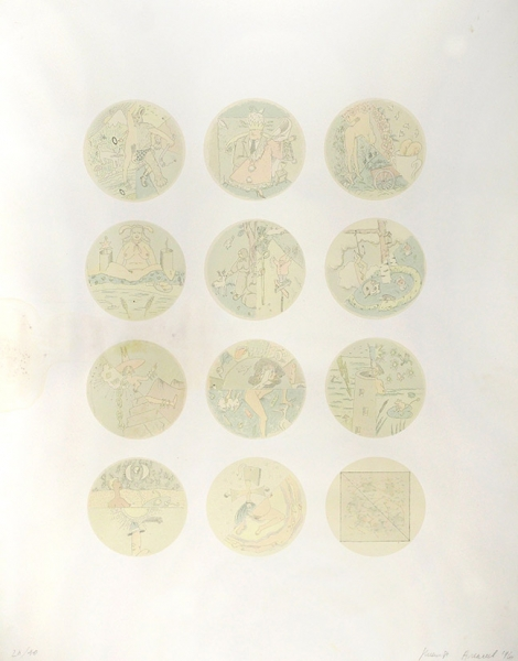 Алексеев Никита. Карты Таро. 1996г. Цветная шелкография. 98×78.3см. Экземпляр №28из40. Сподписью художника. Следы залива.