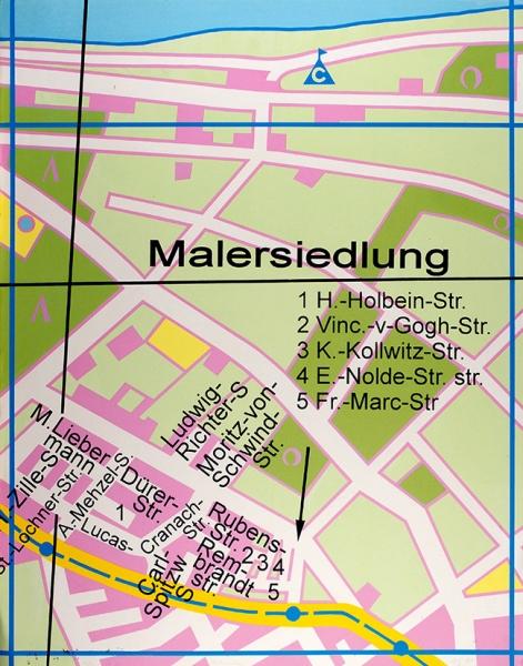 Альберт Юрий. Карта (Поселок художников— Malersiedlung). 1993г. Цветная шелкография. 73x57см. Экземпляр №34из36. Сподписью художника.