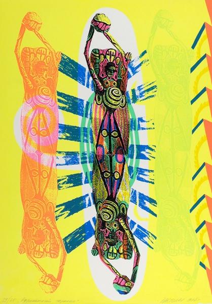 Бартенев Андрей. Африканский таракан. 1995г. Цветная шелкография.54,5×38,5см. Экземпляр №29из30с подписью художника.