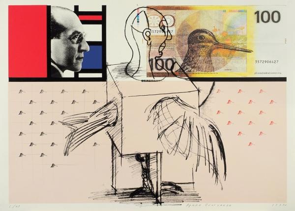 Игитханян Армен. Пит Мондриан исто гульденов. 1999г. Цветная шелкография. 70×50,4см. Экземпляр №6из49с подписью художника. Редкость.