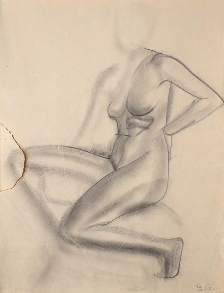 Григорьев Борис Дмитриевич (1886–1939) «Обнаженная». 1913. Бумага, графитный карандаш, 24×18,5см (всвету).