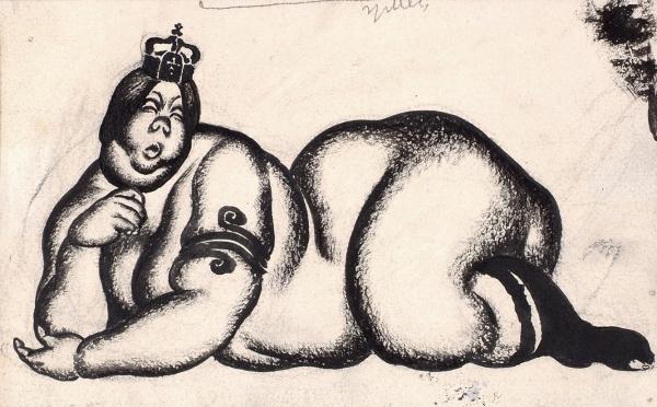 Лебедев Владимир Васильевич (1891–1967) Карикатура наГерманскую империю. 1914-1917. Бумага, графитный карандаш, тушь, 11,4×18,3см.