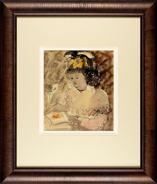 Софронова Антонина Фёдоровна (1892–1966) «Девушка закнигой». 1938. Бумага, акварель, тушь, 28,5×24,5см (всвету).
