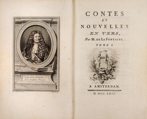 [40гравюр] Лафонтен. Басни иновеллы, встихах. [Contes etnouvelles envers parm. deLaFontaine. Нафр.яз.]. Т. 1. Амстердам, 1762.