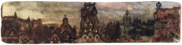 Малютин Иван Андреевич (1889 или 1891–1932) Эскиз панно. Начало ХХвека. Бумага, смешанная техника, 5,5x24см.
