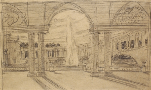 Фомин Иван Александрович (1872–1936) «Архитектурный мотив». 1900-е. Бумага, графитный карандаш, 35,5x50,5см.