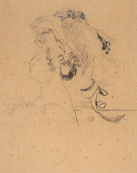 Малявин Филипп Андреевич (1869–1940) «Женский профиль». 1900-е— 1910-е. Бумага, графитный карандаш, 31x25см.
