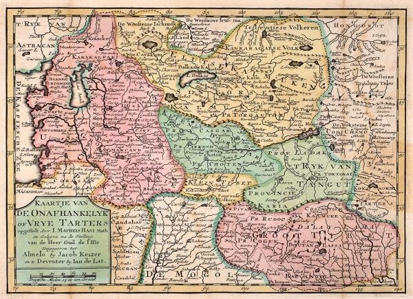 Карта Средней Азии инезависимой Тартарии/ карт. иизд. М.Хасий, Г. Делиль, Я.Кайзер, Я. деЛат. [Голландия, сер. XVIIIв.?]