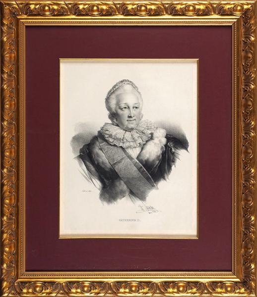 Греведон Анри (Henri Grеvedon) (1776–1860) «Портрет Екатерины II». 1827. Бумага, литография, 38,5x29,5см (всвету).