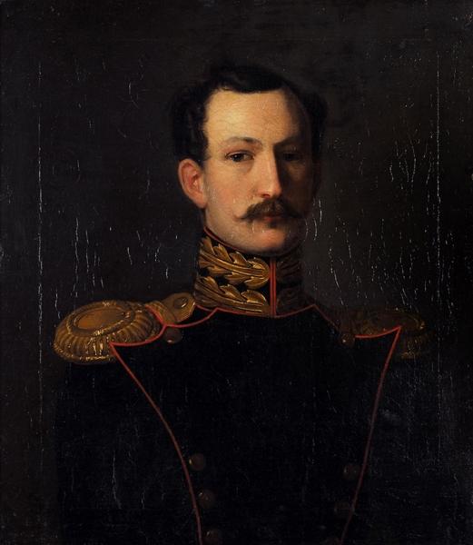 Неизвестный художник «Портрет поручика гвардейской артиллерии». 1830-е— 1840-е. Холст, масло, 72x63см.