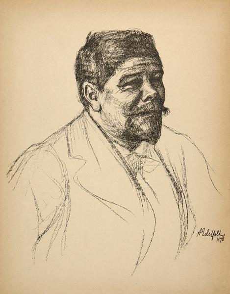 Эдельфельт Альберт Густав Аристид (Albert Gustaf Aristides Edelfelt) (1854–1905) «Мужской портрет». 1898. Бумага, литография, 31,5x24,5см.