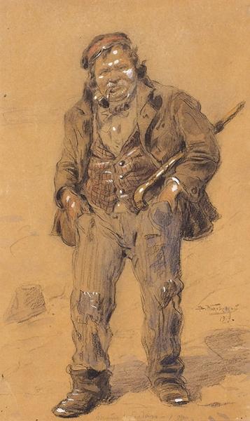 Маковский Владимир Егорович (1846–1920) «Тип забулдыга». 1919. Бумага накартоне, графитный карандаш, акварель, белила, сепия, 29,3x18,1см.