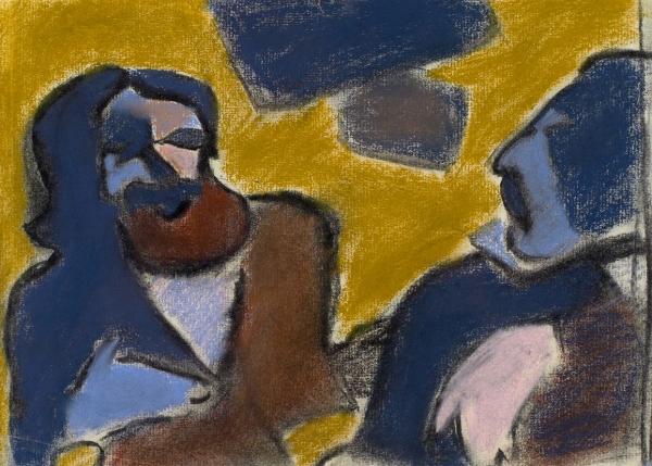 Каменский Алексей Васильевич (1927–2014) «Поэт Леха иМарлен Шпиндлер». 1978. Бумага, пастель, 23,5x32см.