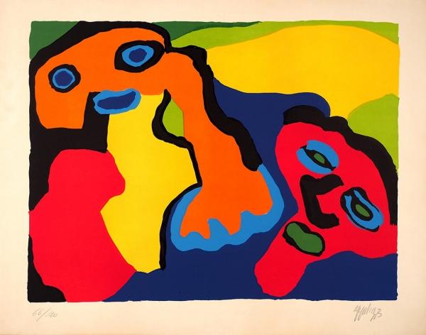 [Отташизма доабстрактного экспрессионизма] Аппел Карел (группа «Cobra»). Двойной портрет.1973. Бумага, цветная шелкография.61,5x78,3см. Экземпляр №66из120с подписью художника.