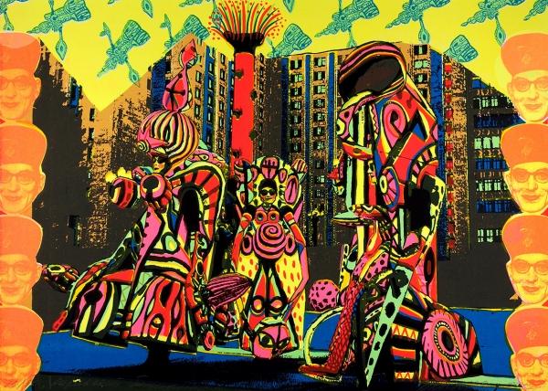 Бартенев Андрей. Корякский бананник.1995. Бумага, цветная шелкография, 53,5x38,2см. Экземпляр №25из30с подписью художника иштампом Творческой мастерской шелкографии «Московская студия».