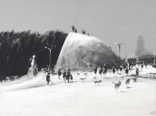 """Батынков Константин. «Город Выборг, """"Парк Монрепо"""", Замок Людвигштейн наострове смерти». 2006. Холст, акрил. 60x79см. Вдвойной раме размером 68,5x88см."""