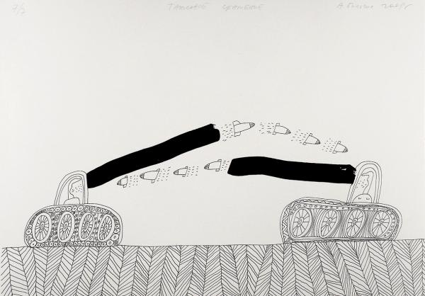 Бильжо Андрей. Танковое сражение.2008. Бумага, цветная шелкография. 61x43см. Экземпляр №7из7с подписью художника.