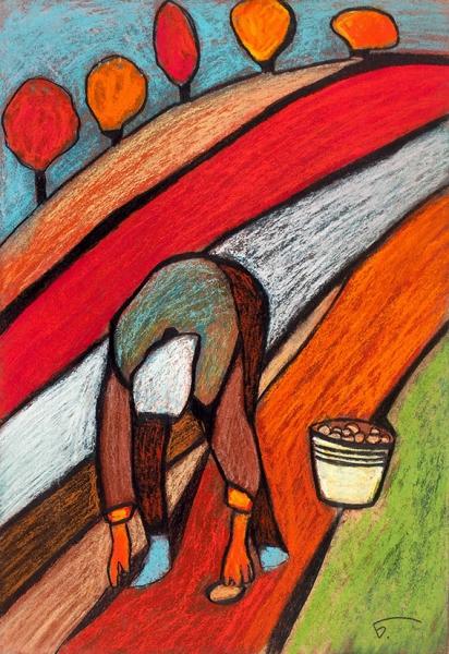 Беречинский Вячеслав. Сборщица картофеля.2018. Картон, пастель. 43x29,5см. Сподписью идарственной надписью художника.