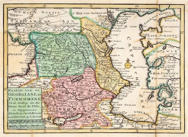 [Грузия— вид изГолландии...] Карта Грузии, [Армении], Турции/ карт. иизд. Г.Делиль, Я. Кайзер, Я. деЛат. [Голландия, сер. XVIIIв.?]