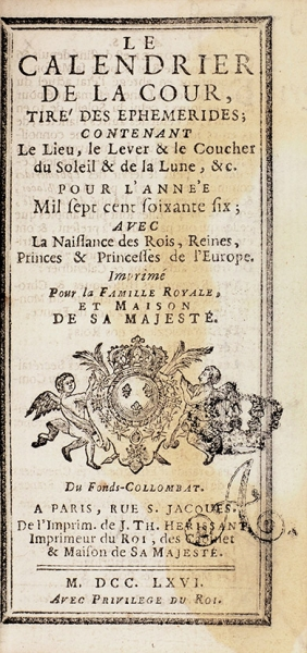 [Миниатюрное издание] Придворный календарь. [Lecalendier delacour. Нафр.яз.] Париж, 1766.