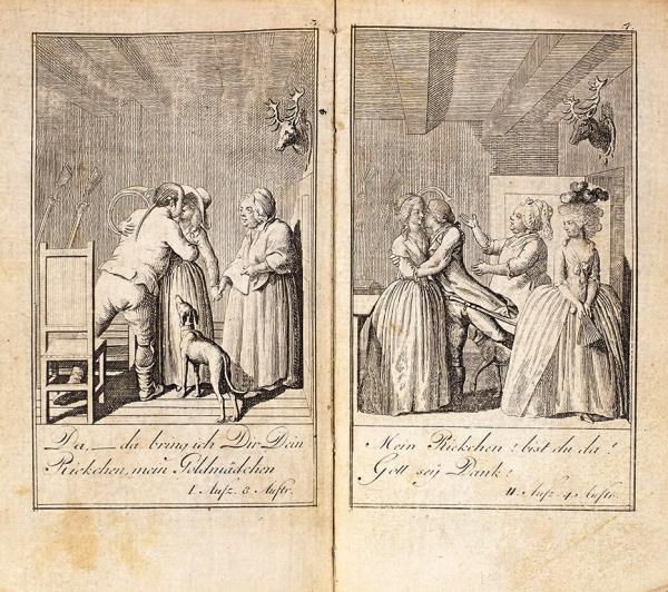 [Миниатюрное издание с12гравюрами] Генеалогический календарь на1799год. [Нанем.яз.] Берлин, [1798].