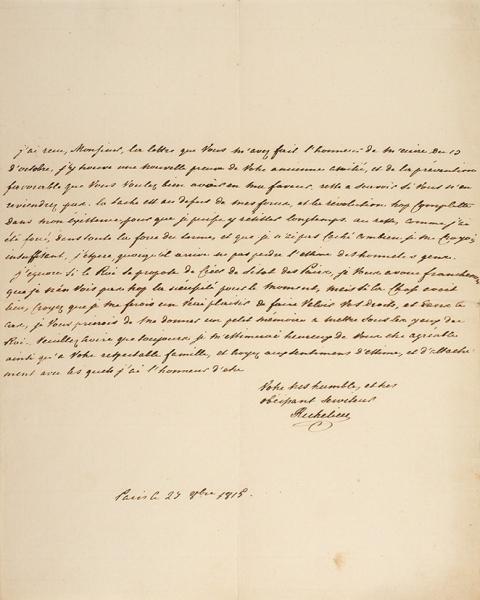 Собственноручное письмо «отца» Одессы— «Дюка» Армана Эммануэля дюПлесси Ришелье. [Нафр.яз.] Париж, 29сент. 1815г.