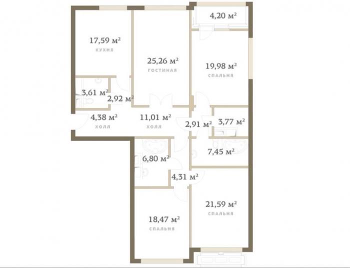 Квартира 153кв. м— Квартира сотделкой white box спанорамными видами наСити. ЖКRedside, улица Сергея Макеева, 9.