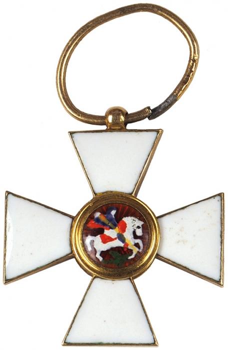 Фрачная миниатюра офицерского Георгиевского креста. Золото, эмали. Вхорошем состоянии. Конец XIX— началоХХ века.