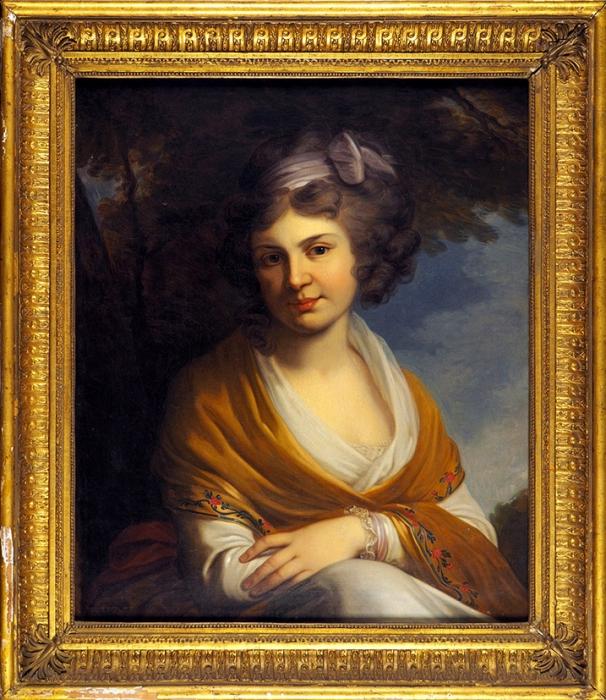 Неизвестный художник «Портрет графини Н.А. Зубовой». Копия спортрета Лампи Иоганна Баптиста (Старшего) (Johann Baptist von Lampi der Аltere) (1751-1830). Вторая половина 1790-х. Холст, масло, 68x58см.