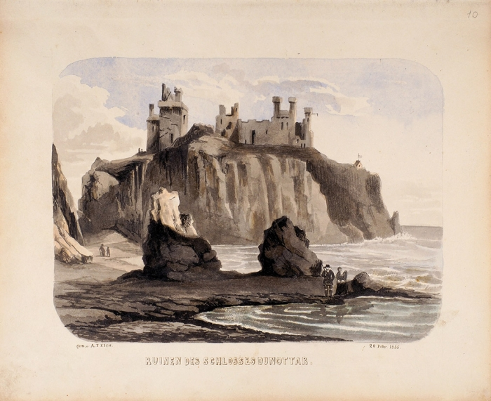 Тайх (Teich) Антон фон «Руины замка Даннотар». 1855. Бумага, акварель, 21x25,3см.