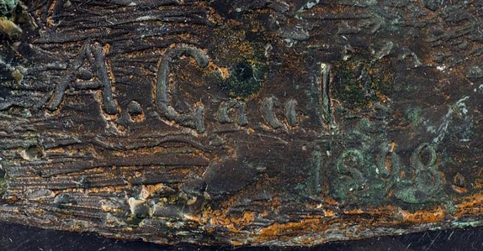 Скульптура «Львенок». Кенигсберг, скульптор А.Гауль.1898. Бронза, природный камень. Размер 25x11x14,5см.