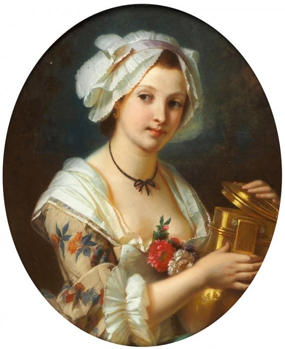 [Собрание М. Замощина] Брошар Констан Жозеф (Constant Joseph Brochart) (1816-1899) «Женский портрет». Вторая половина XIXвека. Картон, пастель, 85x60см (овал).